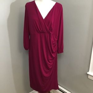 London Times Berry Pink Jersey Dress Sz 18W